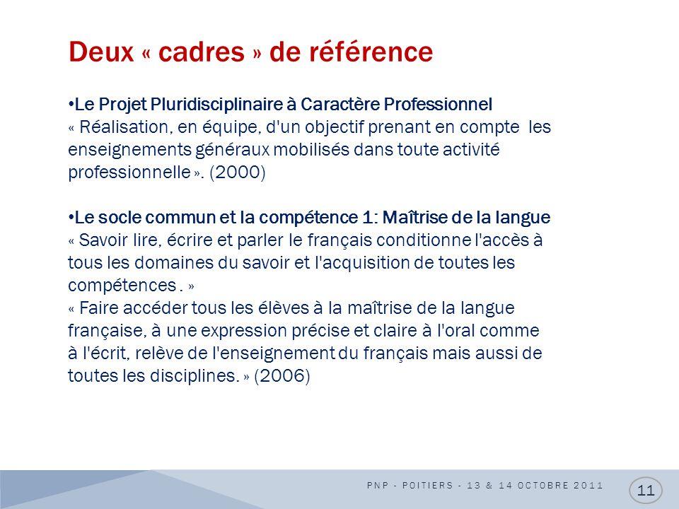 Deux « cadres » de référence PNP - POITIERS - 13 & 14 OCTOBRE 2011 11 Le Projet Pluridisciplinaire à Caractère Professionnel « Réalisation, en équipe,