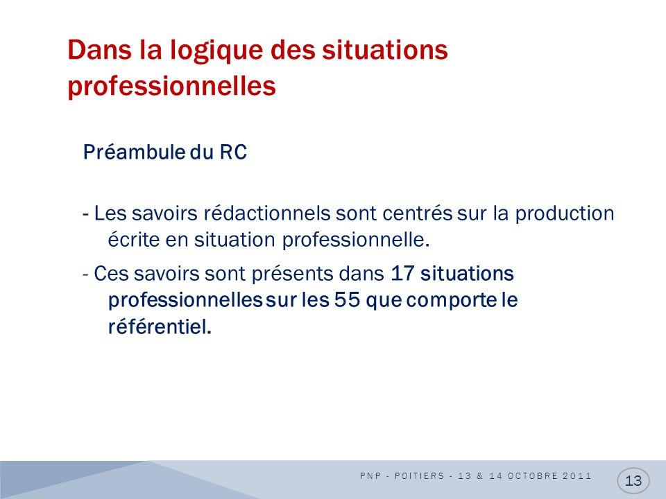 Dans la logique des situations professionnelles PNP - POITIERS - 13 & 14 OCTOBRE 2011 13 Préambule du RC - Les savoirs rédactionnels sont centrés sur