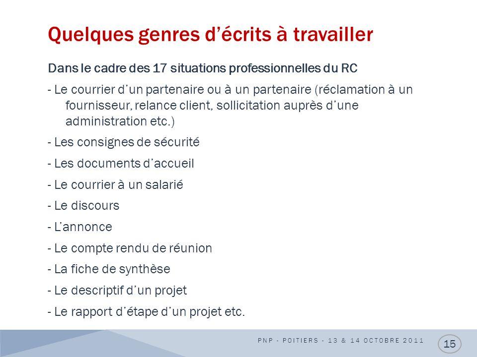 Quelques genres décrits à travailler Dans le cadre des 17 situations professionnelles du RC - Le courrier dun partenaire ou à un partenaire (réclamati