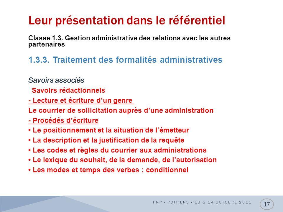Leur présentation dans le référentiel Classe 1.3. Gestion administrative des relations avec les autres partenaires 1.3.3. Traitement des formalités ad