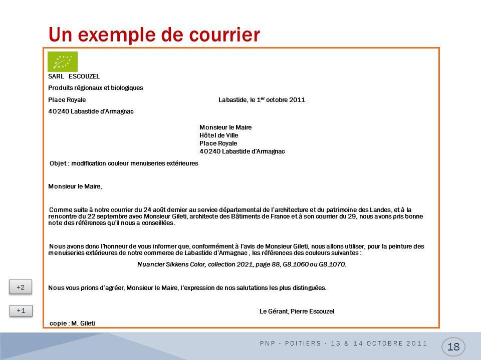 Un exemple de courrier SARL ESCOUZEL Produits régionaux et biologiques Place Royale Labastide, le 1 er octobre 2011 40240 Labastide dArmagnac Monsieur