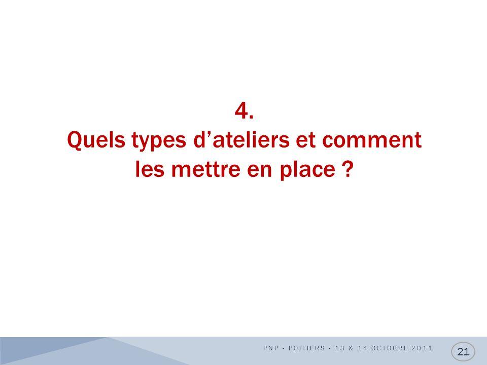 4. Quels types dateliers et comment les mettre en place ? PNP - POITIERS - 13 & 14 OCTOBRE 2011 21