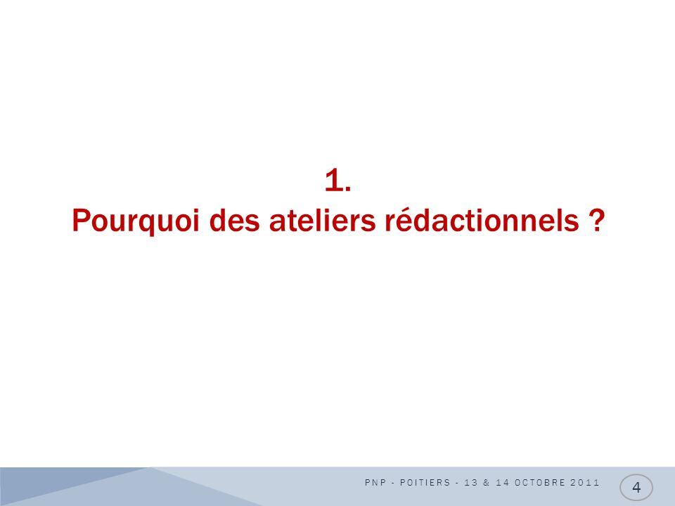 1. Pourquoi des ateliers rédactionnels ? PNP - POITIERS - 13 & 14 OCTOBRE 2011 4