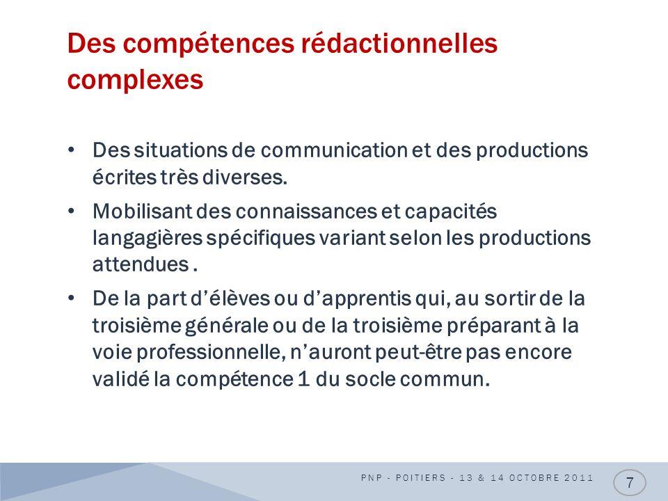 Des compétences rédactionnelles complexes Des situations de communication et des productions écrites très diverses. Mobilisant des connaissances et ca