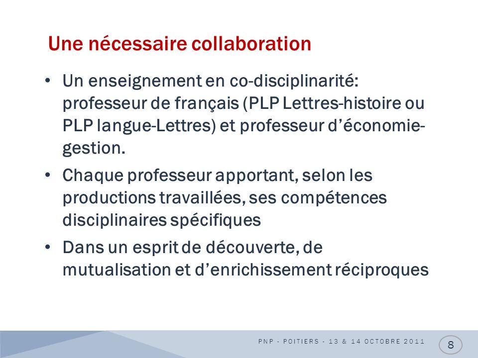 Une nécessaire collaboration Un enseignement en co-disciplinarité: professeur de français (PLP Lettres-histoire ou PLP langue-Lettres) et professeur d