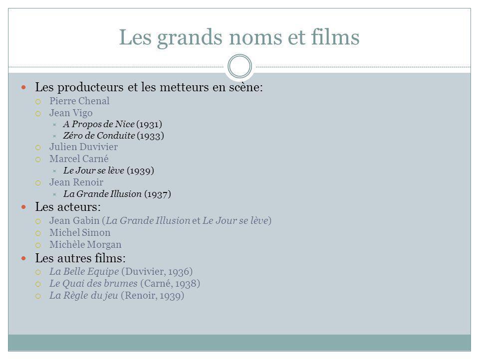 Les grands noms et films Les producteurs et les metteurs en scène: Pierre Chenal Jean Vigo A Propos de Nice (1931) Zéro de Conduite (1933) Julien Duvi