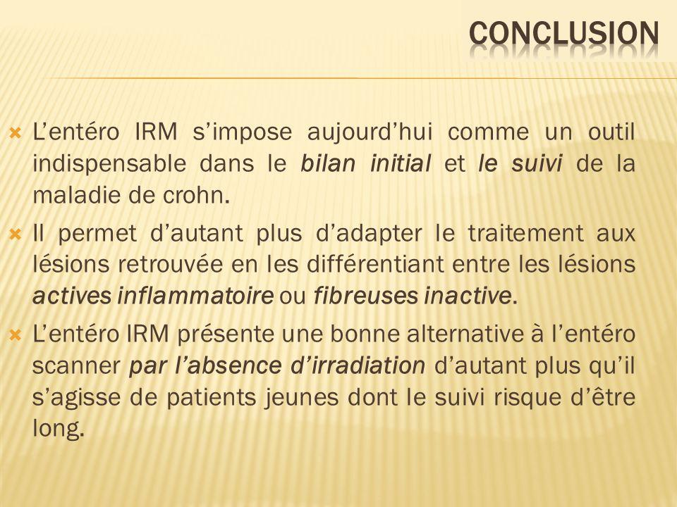 Lentéro IRM simpose aujourdhui comme un outil indispensable dans le bilan initial et le suivi de la maladie de crohn. Il permet dautant plus dadapter
