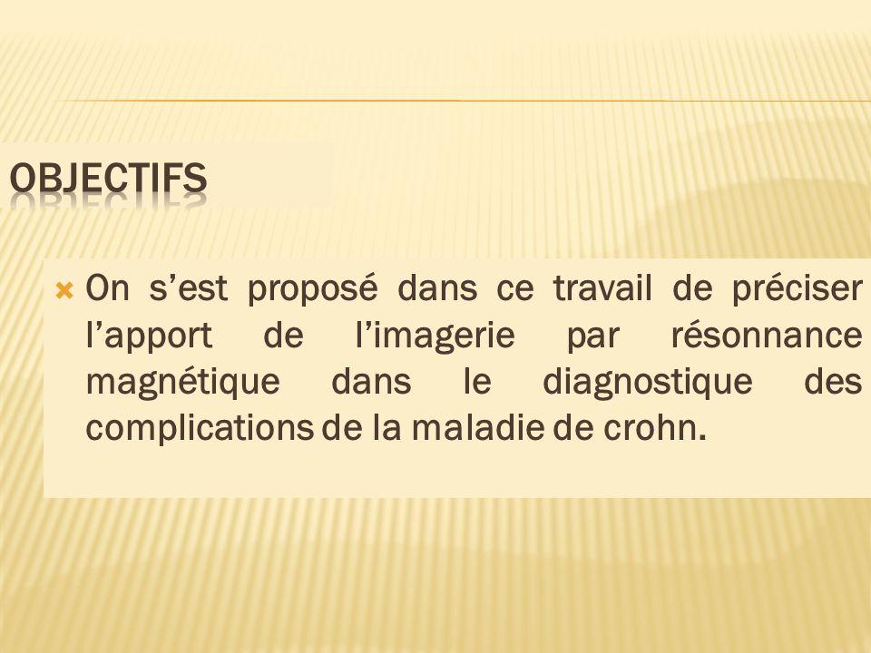 On sest proposé dans ce travail de préciser lapport de limagerie par résonnance magnétique dans le diagnostique des complications de la maladie de cro