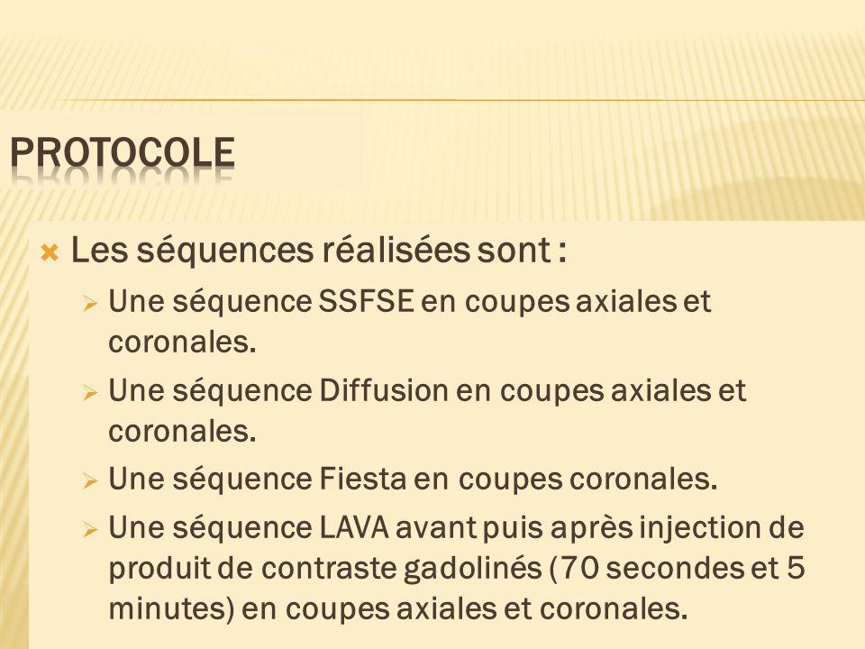 Les séquences réalisées sont : Une séquence SSFSE en coupes axiales et coronales. Une séquence Diffusion en coupes axiales et coronales. Une séquence