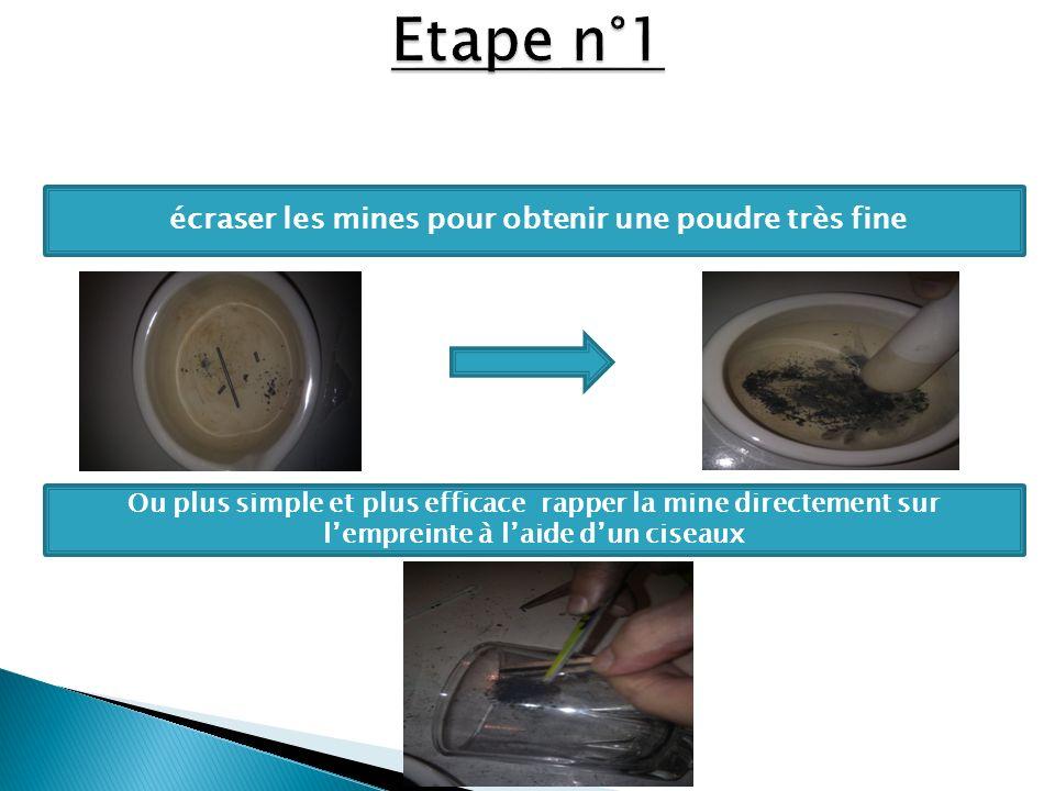 écraser les mines pour obtenir une poudre très fine Ou plus simple et plus efficace rapper la mine directement sur lempreinte à laide dun ciseaux