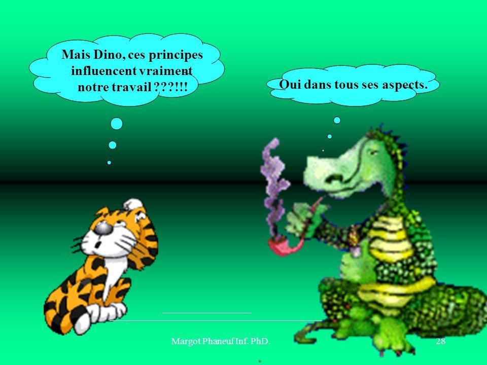 Margot Phaneuf Inf. PhD.28 Oui dans tous ses aspects. Mais Dino, ces principes influencent vraiment notre travail ???!!!