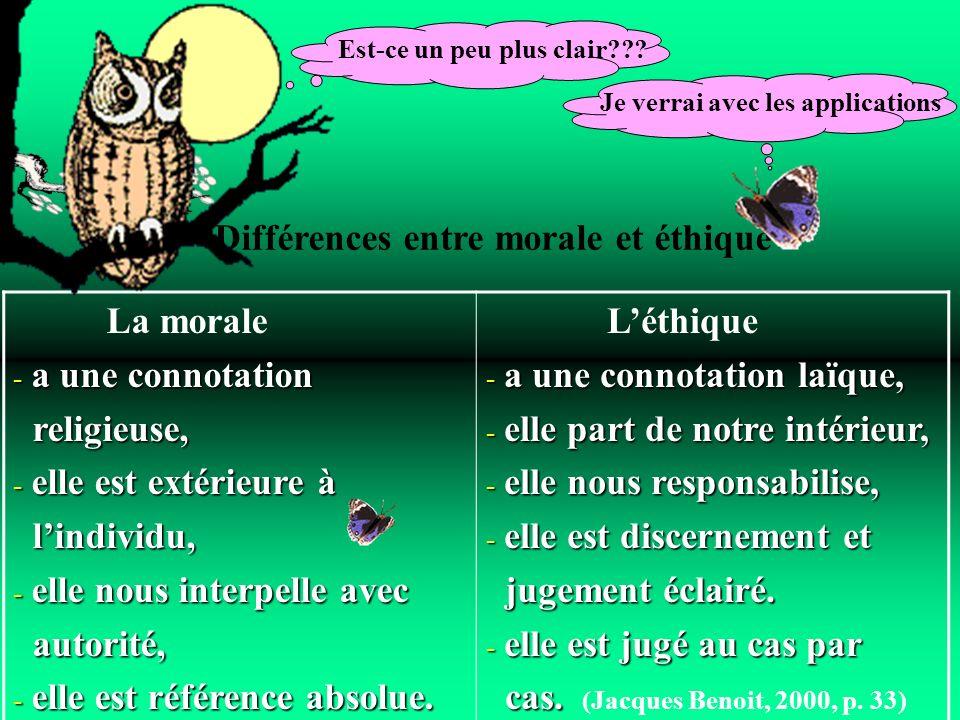 Différences entre morale et éthique La morale - a une connotation religieuse, religieuse, - elle est extérieure à lindividu, lindividu, - elle nous in