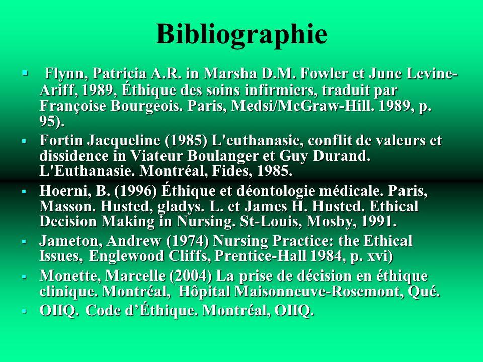 Bibliographie Flynn, Patricia A.R. in Marsha D.M. Fowler et June Levine- Ariff, 1989, Éthique des soins infirmiers, traduit par Françoise Bourgeois. P