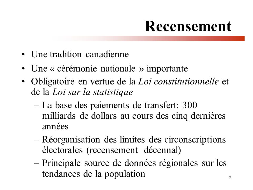 2 Recensement Une tradition canadienne Une « cérémonie nationale » importante Obligatoire en vertue de la Loi constitutionnelle et de la Loi sur la st