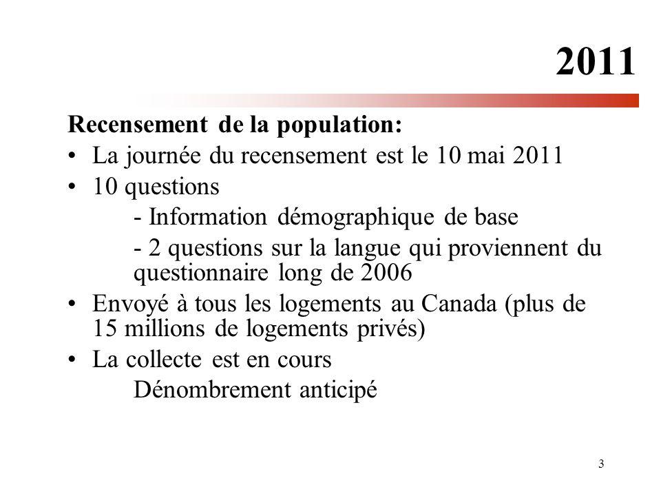 3 2011 Recensement de la population: La journée du recensement est le 10 mai 2011 10 questions - Information démographique de base - 2 questions sur la langue qui proviennent du questionnaire long de 2006 Envoyé à tous les logements au Canada (plus de 15 millions de logements privés) La collecte est en cours Dénombrement anticipé