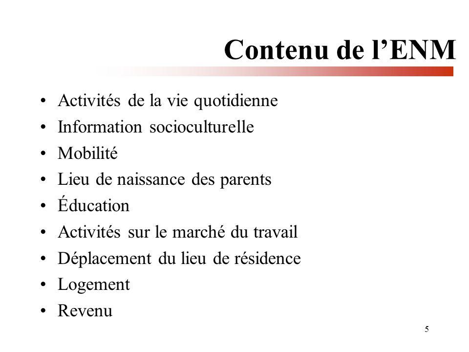 5 Contenu de lENM Activités de la vie quotidienne Information socioculturelle Mobilité Lieu de naissance des parents Éducation Activités sur le marché du travail Déplacement du lieu de résidence Logement Revenu