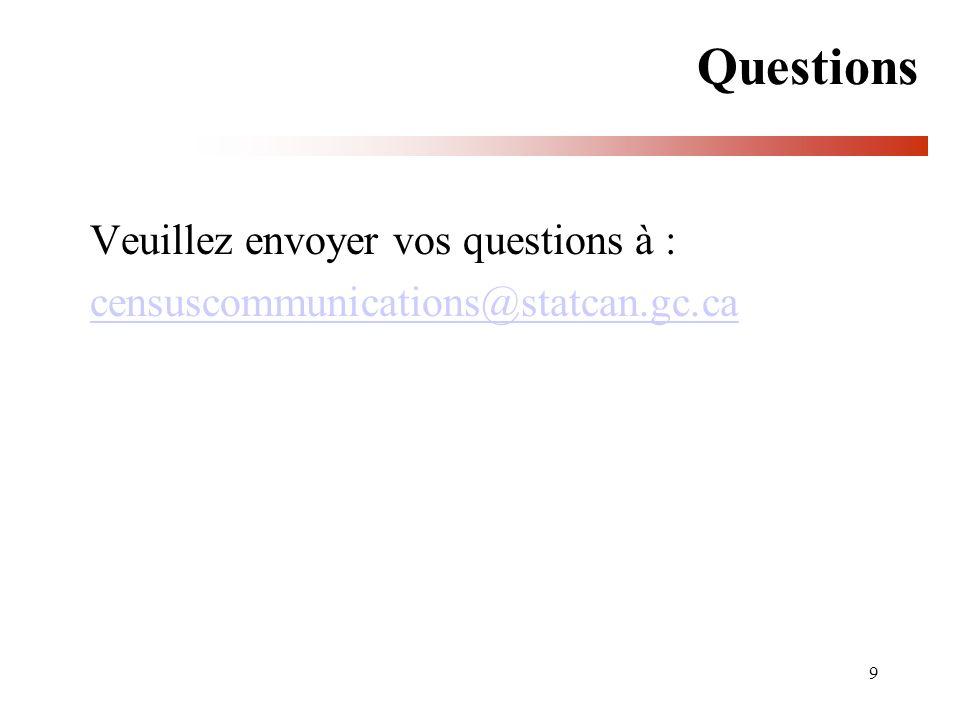 9 Questions Veuillez envoyer vos questions à : censuscommunications@statcan.gc.ca
