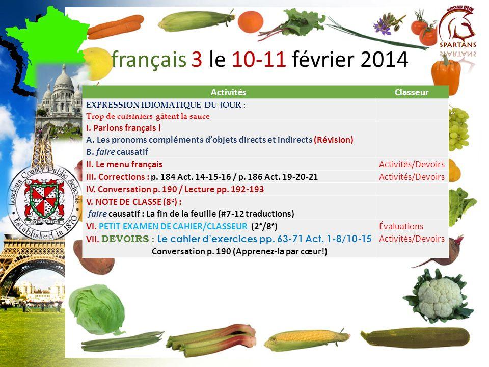 français 3 le 10-11 février 2014 ActivitésClasseur EXPRESSION IDIOMATIQUE DU JOUR : Trop de cuisiniers gâtent la sauce I.