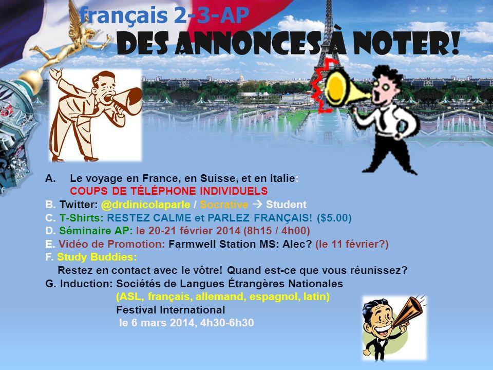 français 2 le 10-11 février 2014 ActivitéClasseur PAYS FRANCOPHONE : Rien pour maintenant ! I. Le présent Le passé composé Un jeu relais ! (Questions)