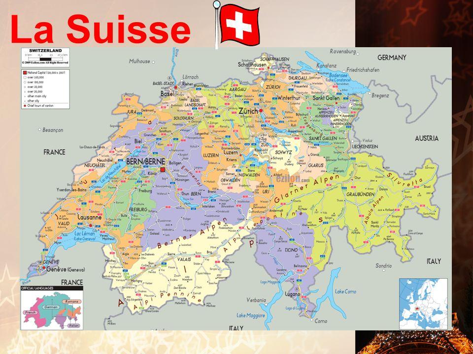 La Suisse A. Faits Divers: LANGUES: On parle français, italien, allemand, et romanche. CAPITALE: Berne VILLES IMPORTANTES: Zurich, Genève B. La Cultur