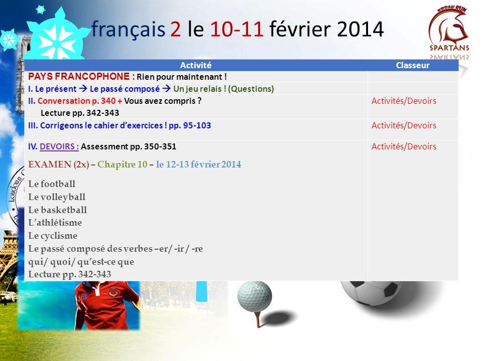 Présentation Orale En groupes de trois élèves 12 lignes maximum! BROUILLON: le 3-4 février 2014 I. VOCABULAIRE: Lhôtel (10 mots/expressions) Les pays,