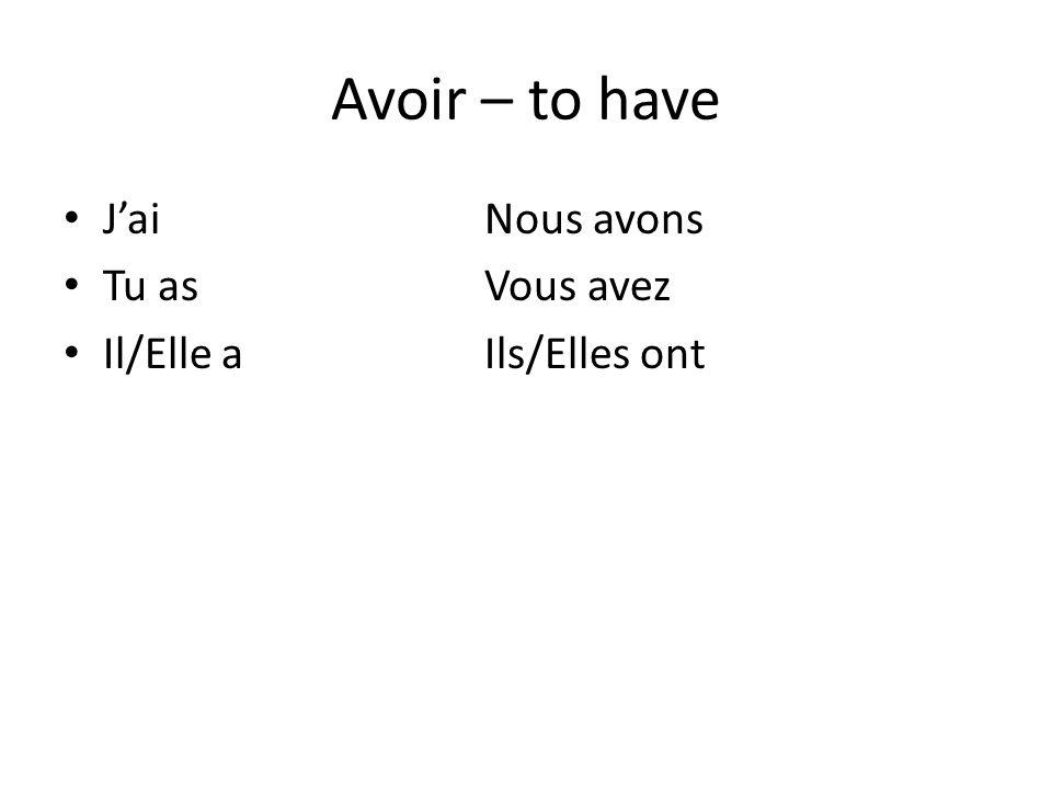 Avoir – to have JaiNous avons Tu asVous avez Il/Elle aIls/Elles ont