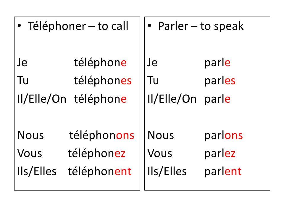 Finissez les phrases avec les verbes à la forme correcte: 1.Je parle bien le français (parler) 2.Nous écoutons la musique.