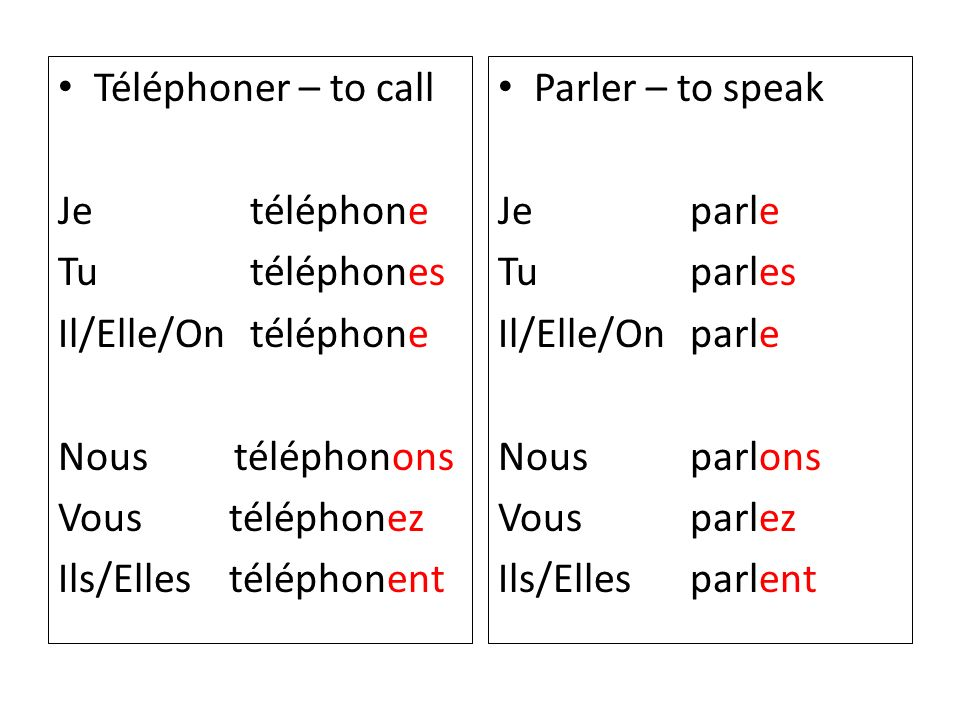 Téléphoner – to call Je téléphone Tu téléphones Il/Elle/On téléphone Nous téléphonons Vous téléphonez Ils/Elles téléphonent Parler – to speak Je parle