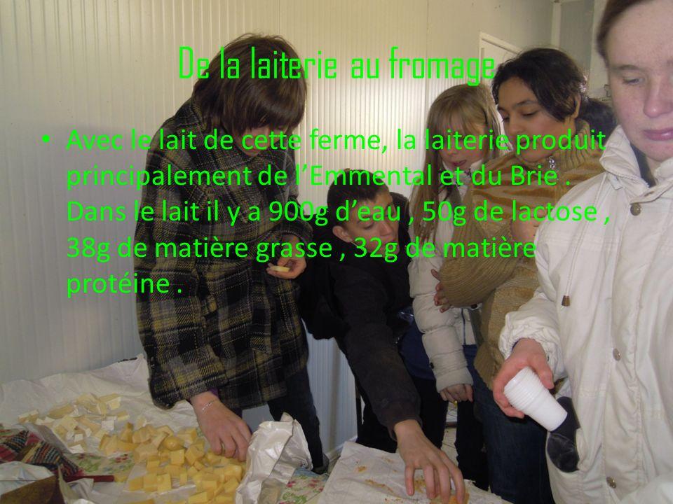 De la laiterie au fromage Avec le lait de cette ferme, la laiterie produit principalement de lEmmental et du Brie. Dans le lait il y a 900g deau, 50g