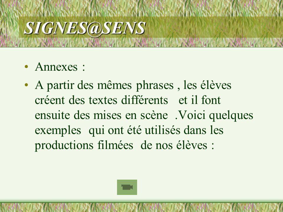 SIGNES@SENS Annexes : A partir des mêmes phrases, les élèves créent des textes différents et il font ensuite des mises en scène.Voici quelques exemple