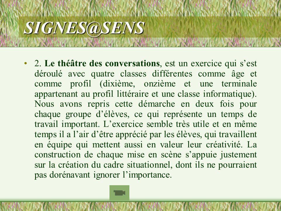 SIGNES@SENS 2. Le théâtre des conversations, est un exercice qui sest déroulé avec quatre classes différentes comme âge et comme profil (dixième, onzi