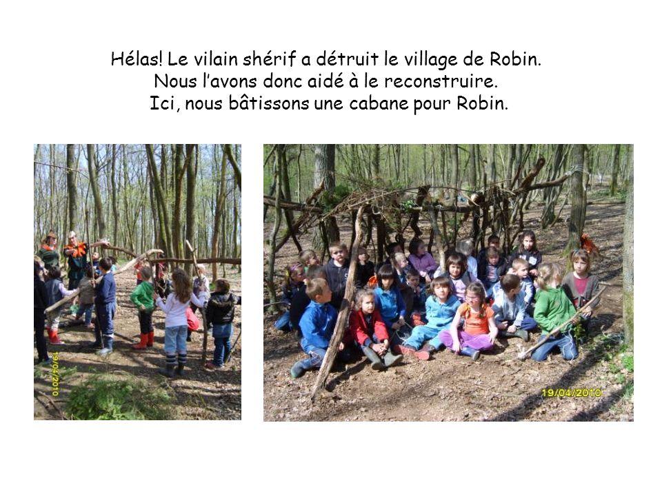 Hélas! Le vilain shérif a détruit le village de Robin. Nous lavons donc aidé à le reconstruire. Ici, nous bâtissons une cabane pour Robin.