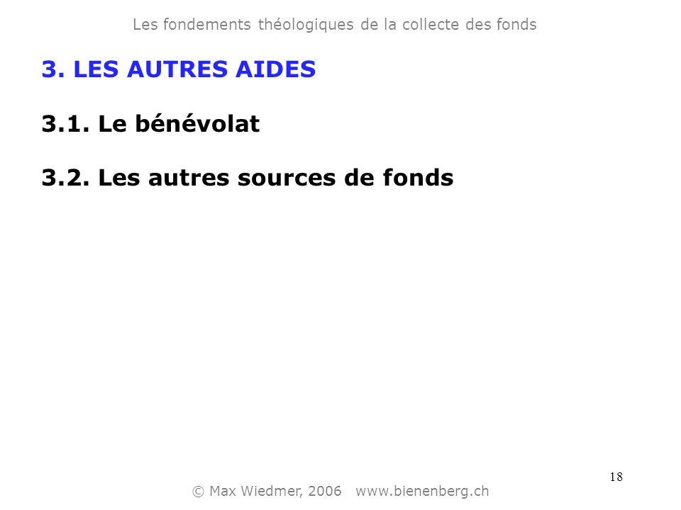 17 3. LES AUTRES AIDES 3.1. Le bénévolat Les fondements théologiques de la collecte des fonds © Max Wiedmer, 2006 www.bienenberg.ch