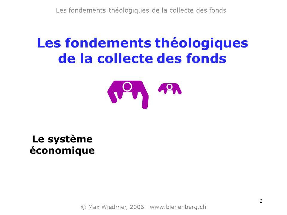 2 Les fondements théologiques de la collecte des fonds © Max Wiedmer, 2006 www.bienenberg.ch Le système économique Les fondements théologiques de la collecte des fonds