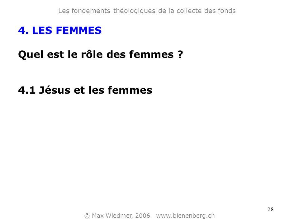 27 4. LES FEMMES Quel est le rôle des femmes ? Les fondements théologiques de la collecte des fonds © Max Wiedmer, 2006 www.bienenberg.ch