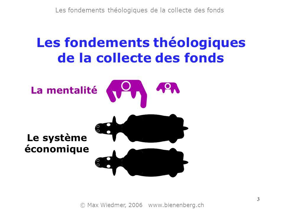 2 Les fondements théologiques de la collecte des fonds © Max Wiedmer, 2006 www.bienenberg.ch Le système économique Les fondements théologiques de la c