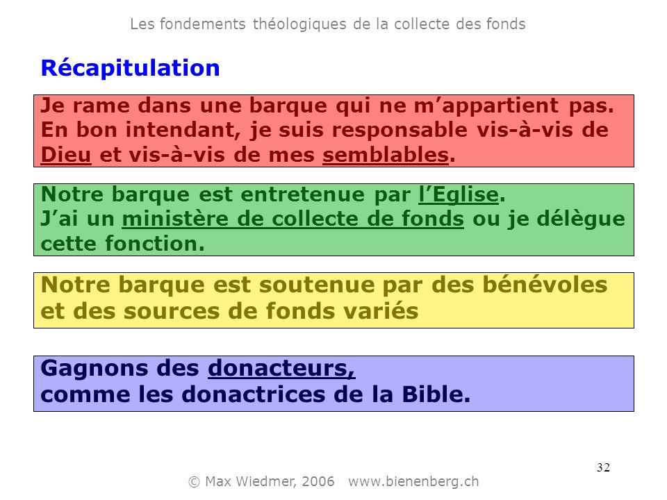 31 Les fondements théologiques de la collecte des fonds © Max Wiedmer, 2006 www.bienenberg.ch Gagnons des donacteurs comme les donactrices de la Bible