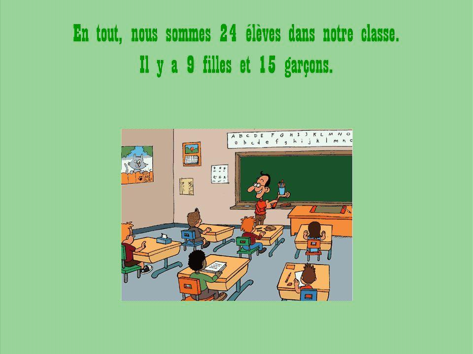 En tout, nous sommes 24 élèves dans notre classe. Il y a 9 filles et 15 garçons.