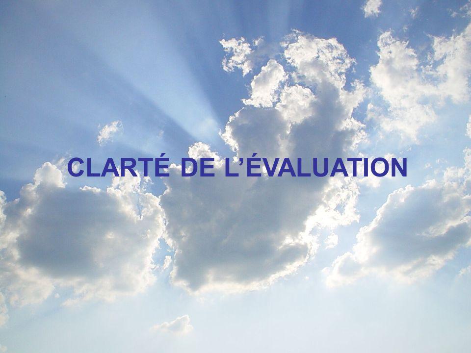 CLARTÉ DE LÉVALUATION