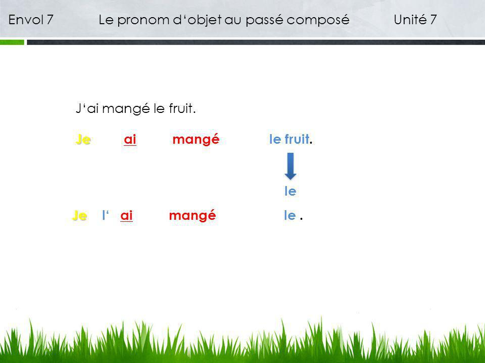 Envol 7 Le pronom dobjet au passé composé Unité 7 Jai mangé le fruit. Je Jeai mangéle fruit. le Je Jeai mangé. lel