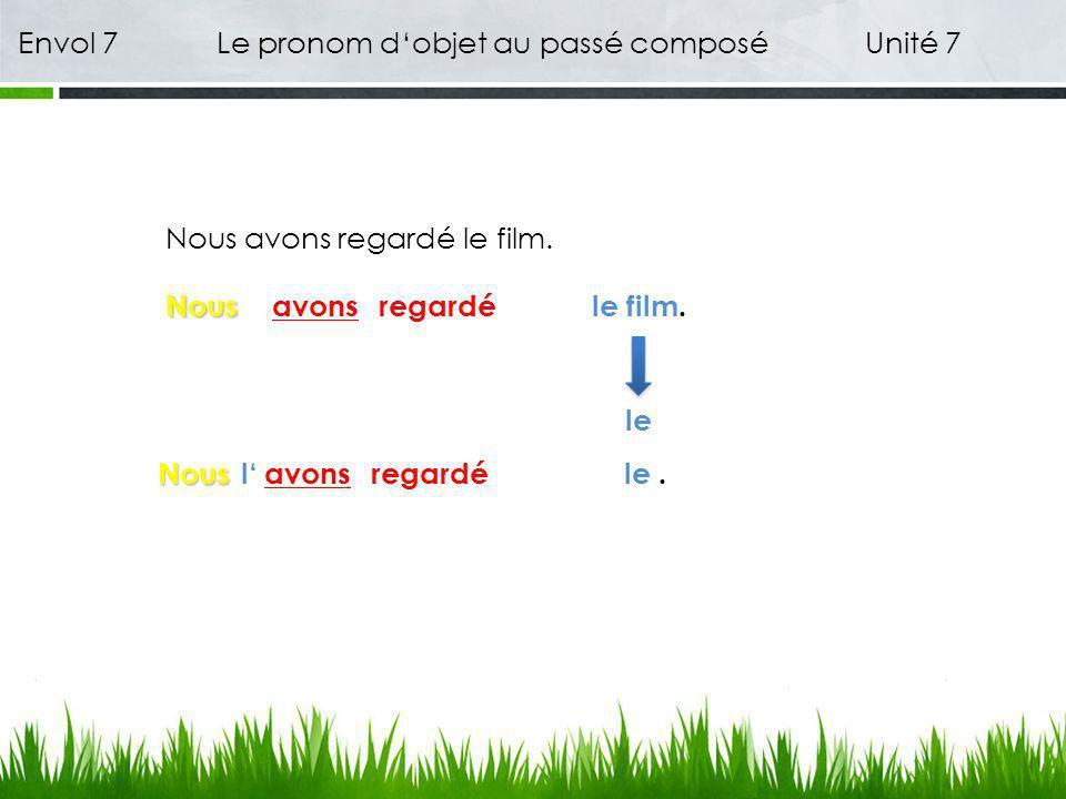 Envol 7 Le pronom dobjet au passé composé Unité 7 Nous avons regardé le film.