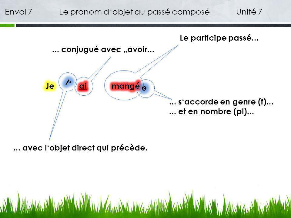 Envol 7 Le pronom dobjet au passé composé Unité 7 1 Est-ce que tu as vu la jeune chanteuse .