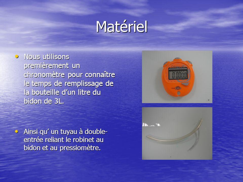 Matériel Nous utilisons premièrement un chronomètre pour connaître le temps de remplissage de la bouteille dun litre du bidon de 3L.