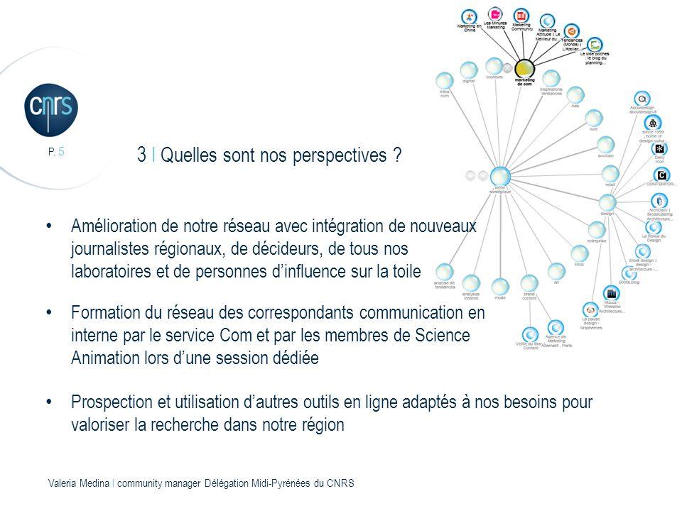 P. 5 Valeria Medina l community manager Délégation Midi-Pyrénées du CNRS 3 I Quelles sont nos perspectives ? Amélioration de notre réseau avec intégra