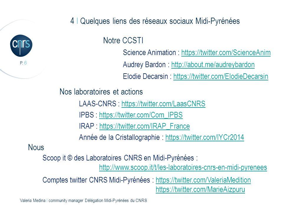 P. 6 Valeria Medina l community manager Délégation Midi-Pyrénées du CNRS 4 I Quelques liens des réseaux sociaux Midi-Pyrénées Audrey Bardon : http://a