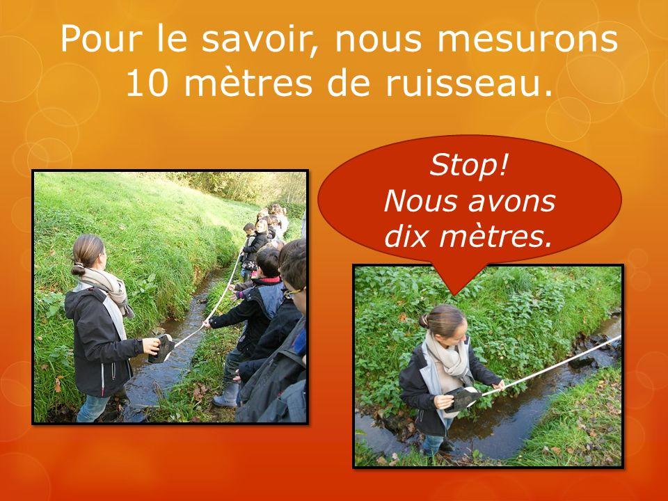 Pour le savoir, nous mesurons 10 mètres de ruisseau. Stop! Nous avons dix mètres.
