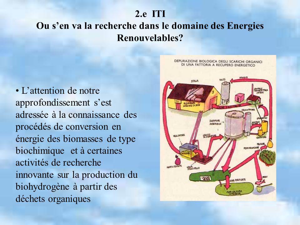 2.e ITI Ou sen va la recherche dans le domaine des Energies Renouvelables? Lattention de notre approfondissement sest adressée à la connaissance des p