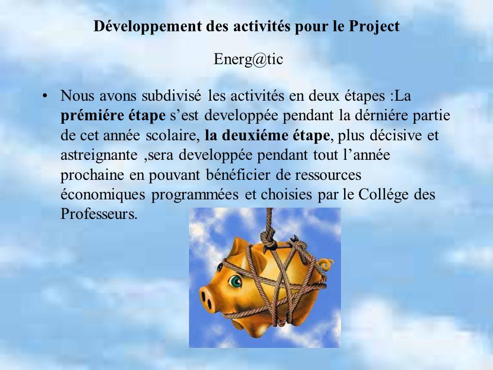 Développement des activités pour le Project Energ@tic Nous avons subdivisé les activités en deux étapes :La prémiére étape sest developpée pendant la