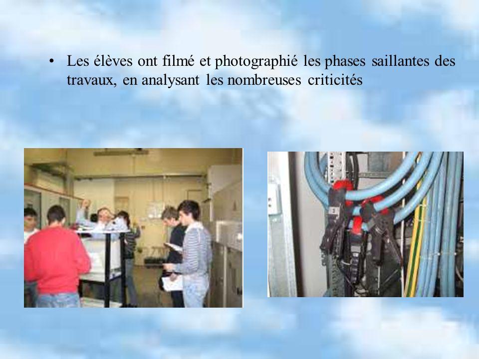 Les élèves ont filmé et photographié les phases saillantes des travaux, en analysant les nombreuses criticités