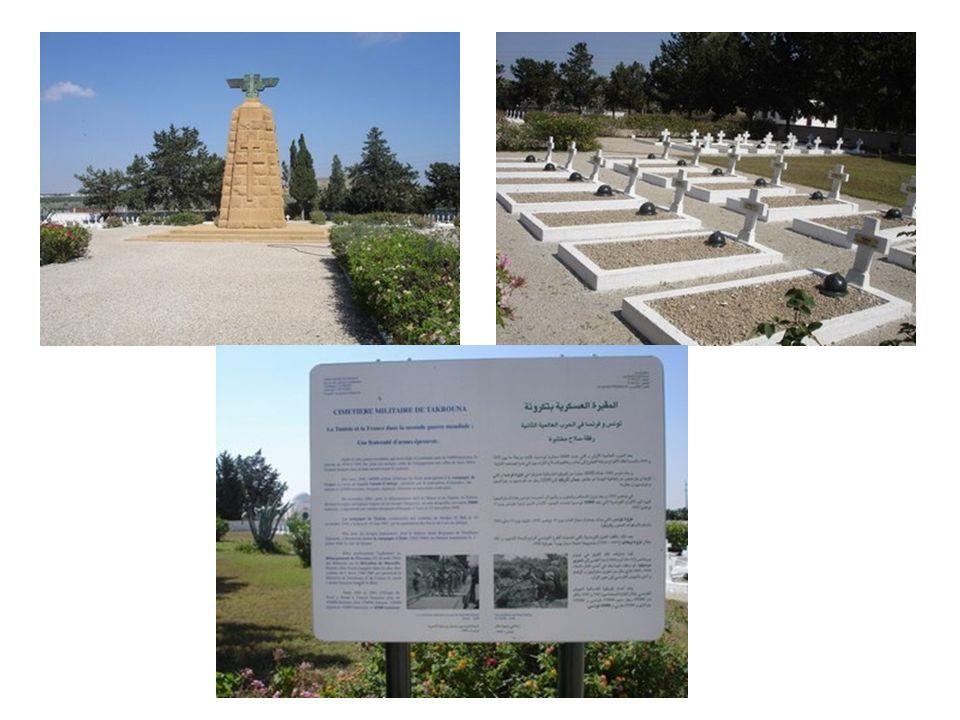 Takrouna nous a vu deux fois, avant dy arriver nous passons devant le cimetière militaire des derniers combats de Takrouna et Zagouhan par les forces Françaises Libres de Leclerc et alliés contre les forces de laxe.
